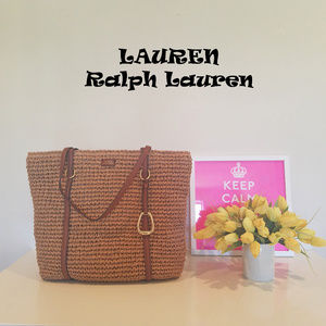 NWT Ralph Lauren Straw And Leather Tote Bag